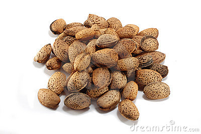 Almonds nuts on white background
