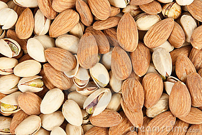 Almonds and pistachios background 4