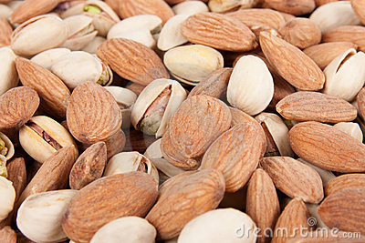 Almonds and pistachios background 5