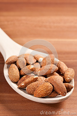 Almonds on spoon