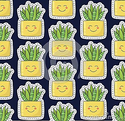 Free Aloe Succulent Cute Seamless Vector Pattern Stock Photos - 110469513