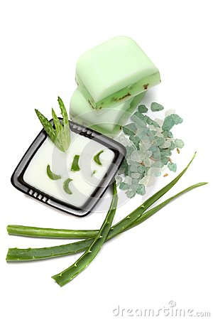 Aloe vera leaves, handmade soap and bath salt