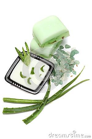 Aloe vera leaves, handmade soap and bath salt