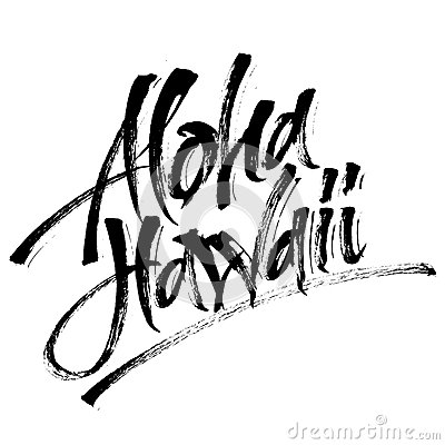 Free Aloha Hawaii. Modern Calligraphy Hand Lettering For Serigraphy Print Royalty Free Stock Photography - 90913157