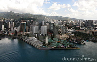 Aloha Tower Aerial Vista Oahu