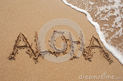 Aloha Written in Sand on Beach with Wave