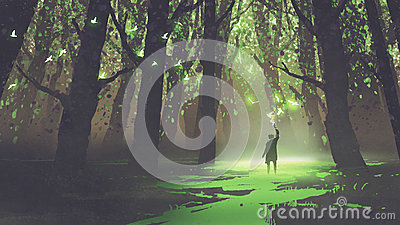 Alone man with torch standing in fairy tale forest Cartoon Illustration