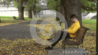 Alone men with yellow jacket using smartphone in the park of the fall. stock video