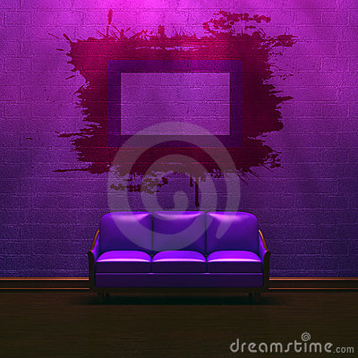 Alone purple couch with grunge frame