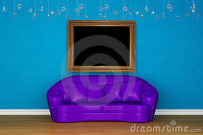 Alone purple sofa with picture frame