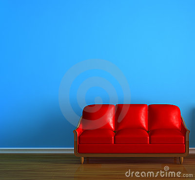 Alone red couch