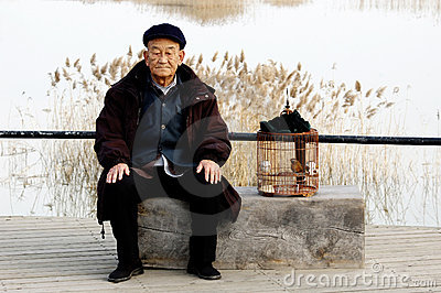Alone senior man and birdcage