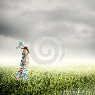 Alone Woman with raincloud