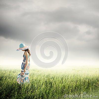 Alone Woman with raincloud