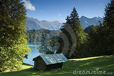 Alp at a mountain lake in Bavaria