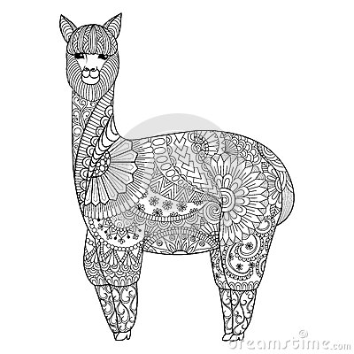 Free Alpaca Zentangle Design For Coloring Book For Adult, Logo, T Shirt Design And So On Stock Images - 66576834