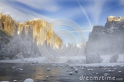 Alpenglow on the granite peaks in Yosemite valley