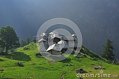 Alpine village Alpenzu, Gressoney, Aosta Valley