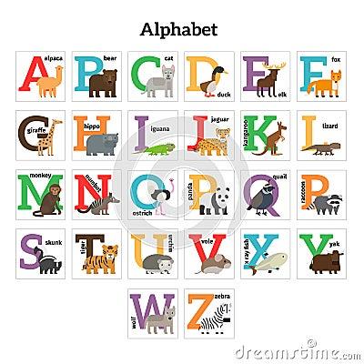 alphabet anglais de zoo d 39 animaux illustration de vecteur image 63106625. Black Bedroom Furniture Sets. Home Design Ideas