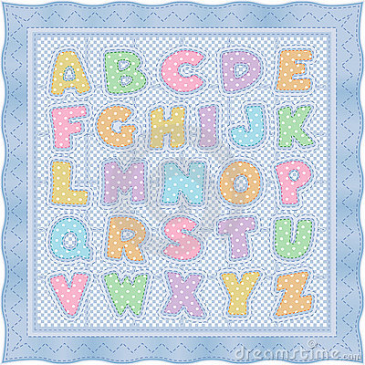 Alphabet Baby Quilt Blue Pastel Royalty Free Stock Image