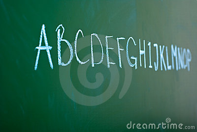 Alphabet on a blackboard