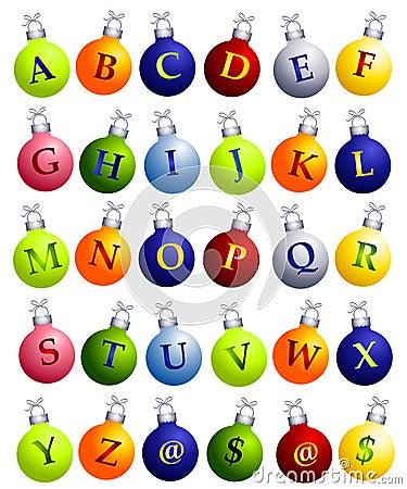 Alphabet on Christmas Ornaments