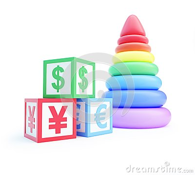 Alphabet cube finance sign piramid toy