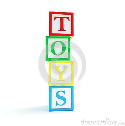 Alphabet cube toys on a white background
