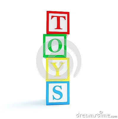 Alphabet cube toys on a white background
