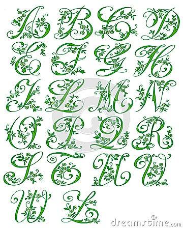 Alphabet cursive floral