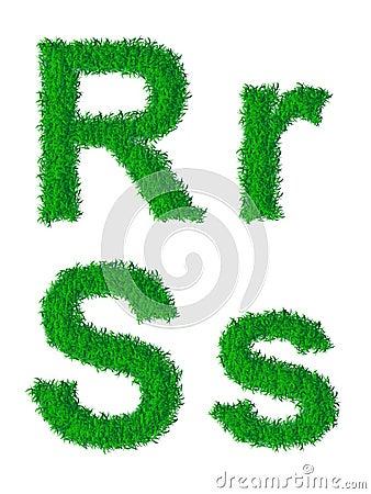 Alphabet d herbe verte