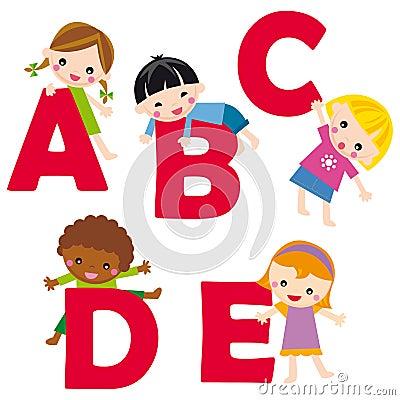alphabet A-E Vector Illustration