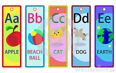 Alphabet Educational Bookmarks A-E for Kids