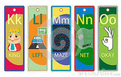 Alphabet Educational Bookmarks K-O for Children