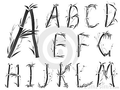 Alphabet font in asian style.