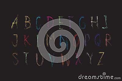 Alphabet font colorful Crayon