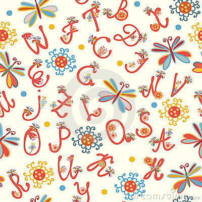 Alphabet funny seamless pattern
