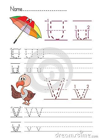 Free Alphabet Handwriting U V Royalty Free Stock Images - 33809319