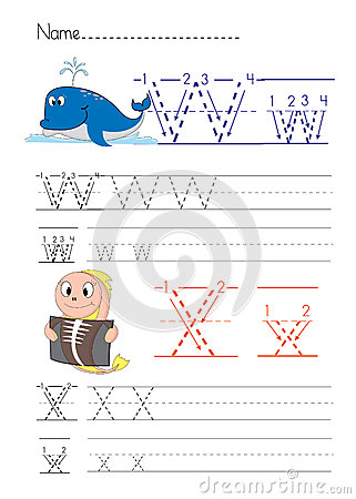 Free Alphabet Handwriting W X Stock Image - 33809321
