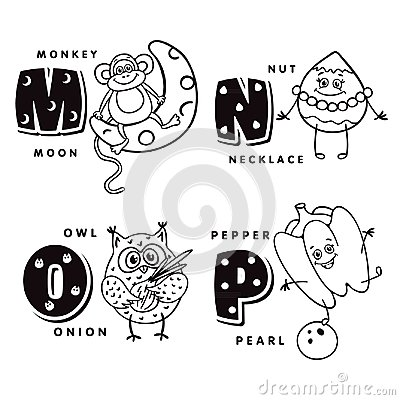 Free Alphabet Letter M N O P Depicting An Monkey, Nut, Owl And Pepper. Vector Alphabet Stock Images - 99567044
