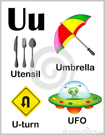 Worksheets U Words For Kids flashcard letter u is for umbrella stock vector image 67727516