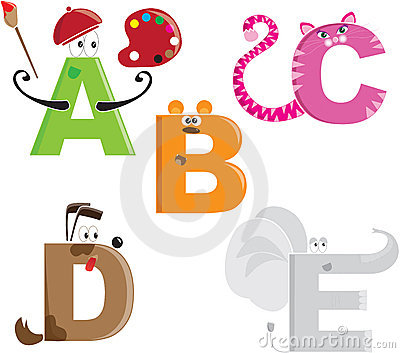 Alphabet letters as different animals