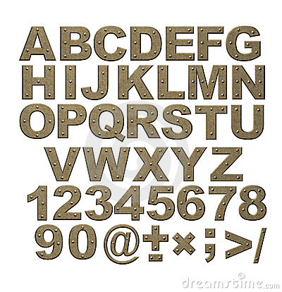 Free Alphabet - Letters From Rusty Metal With Rivets Royalty Free Stock Photography - 4494517