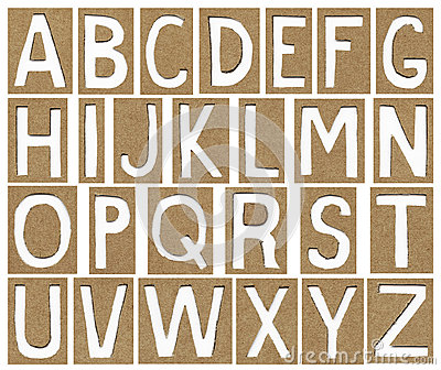 Alphabet letters made from cardboard paper