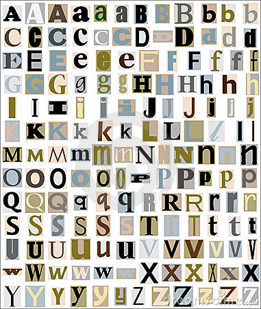 Alphabet Letters Magazine & Newspaper Style