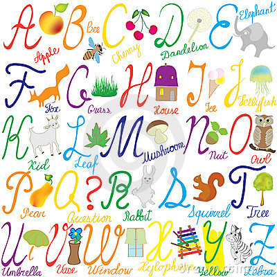 Alphabet with letters, words and pictures