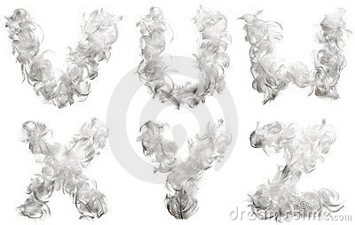 Alphabet made ​​of feathers