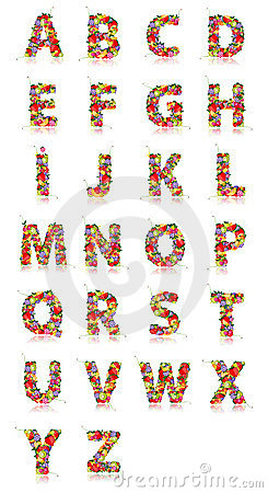 Free Alphabet Made From Fruits Royalty Free Stock Photo - 24040445