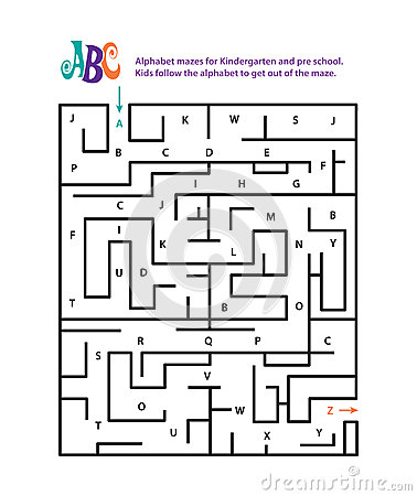 Alphabet Mazes For Kindergarten And Pre School Stock Vector ...