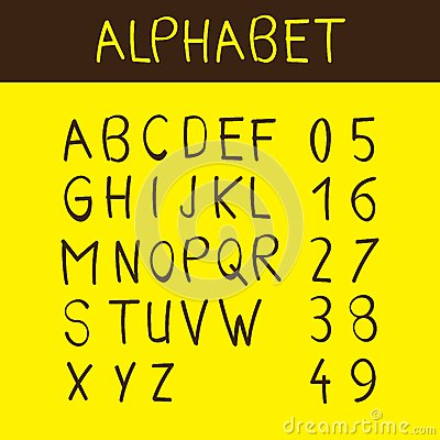 Alphabet and numbers font